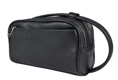 Кожаный несессер Carolo black (арт. 6004-01)