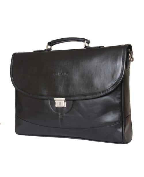Кожаный портфель Ferrada black (арт. 2006-01)