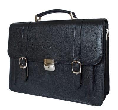 Кожаный портфель Tolmezzo black (арт. 2023-30)