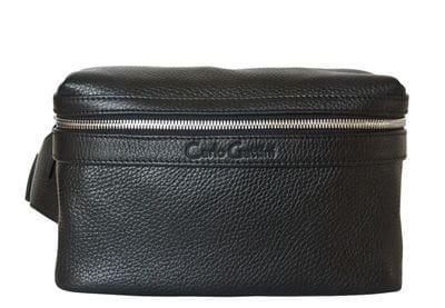 Кожаная поясная сумка Aosta black (арт. 7010-01)