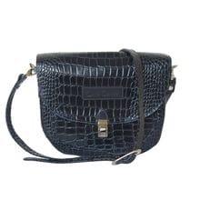 Кожаная женская сумка Amendola dark blue (арт. 8003-19)
