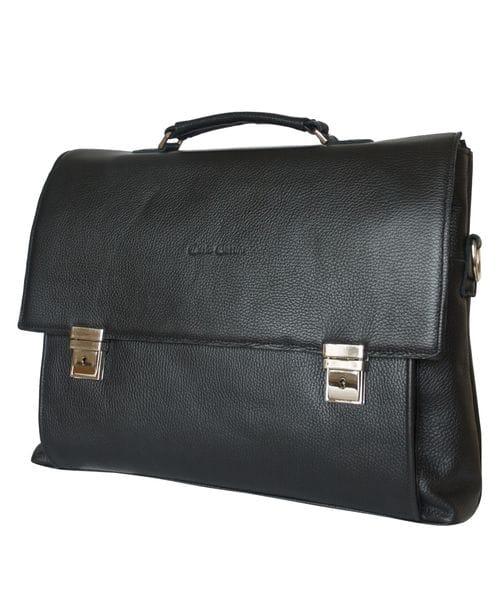 Кожаный портфель Ferentillo black (арт. 2024-01)