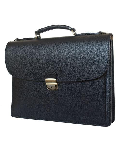 Кожаный портфель Valcavo black (арт. 2016-01)