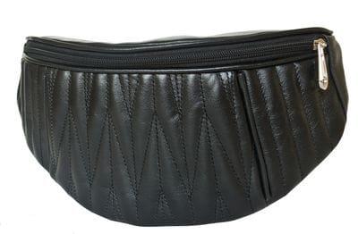 Кожаная поясная сумка Molfetta black (арт. 7008-01)