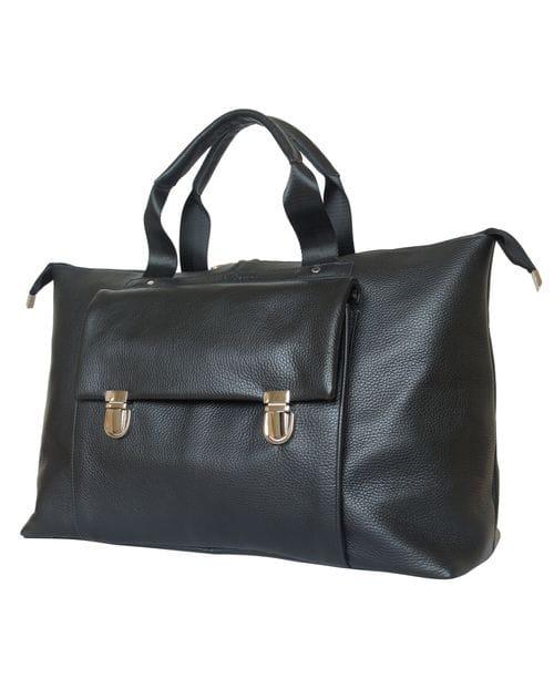 Кожаная дорожная сумка Alberola black (арт. 4015-01)