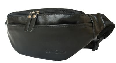 Кожаная поясная сумка Atessa black (арт. 7009-01)