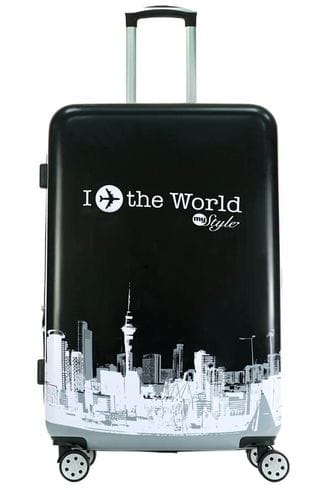 Чемодан Monopol The World Style, черный, 75 см, L